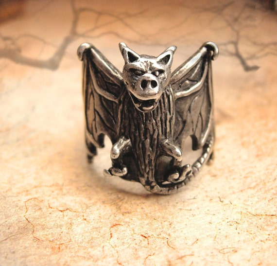 Reserved for Buffalo HUGE Halloween FIERCE sterling Gothic Bat Ring SIGNED