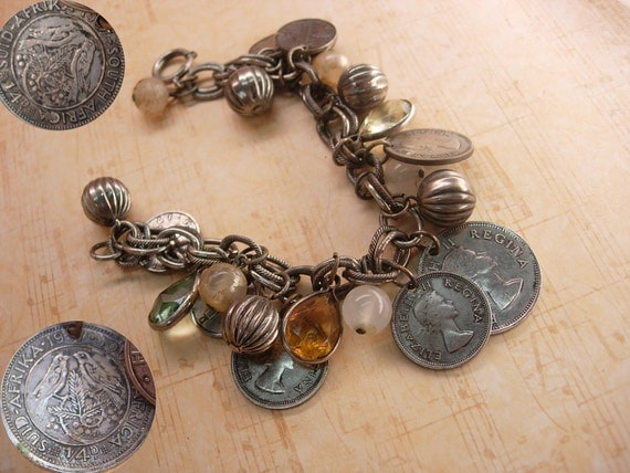 Reserved for Shann Vintage chunky Charm bracelet South african and Sweden coins and baubles