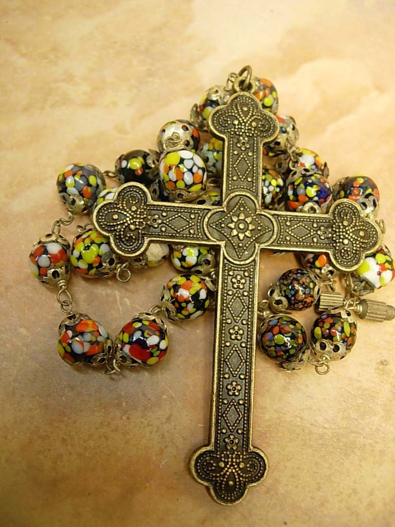 Vintage Italian Murano Glass Rosary Millefiori Necklace With