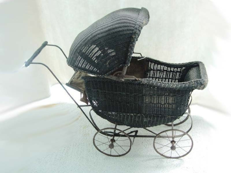 Antique Victorian Black Wicker Child S Baby Doll Stroller