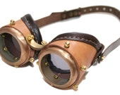 Steampunk goggles from solid brass  (Anatoray Volunteer's widespread design no.1) TAN AND DARK BROWN LEATHER GRAY LENSES