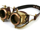 STEAMPUNK GOGGLES made of solid brass brown leather gears decor Assault design no.3