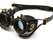 STEAMPUNK GOGGLES made of blackened brass black leather gears decor Anatoray Volunteer's design no.2