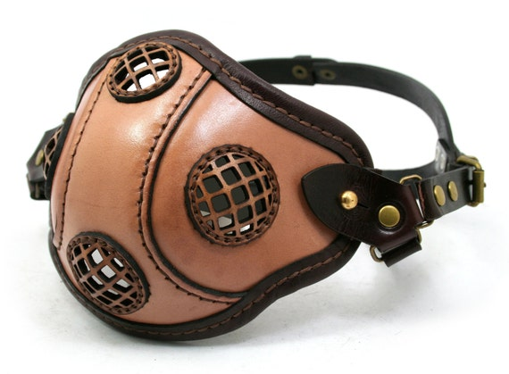STEAMPUNK LEATHER MASK made of tan and dark brown leather sidebars Raider design no.2