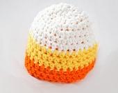 Candy Corn Striped Crochet Hat--- You Choose Size