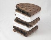 Brown Dot Minky Washcloths Set of 5