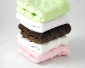 Pink Green Brown Minky Washcloths Set of 5