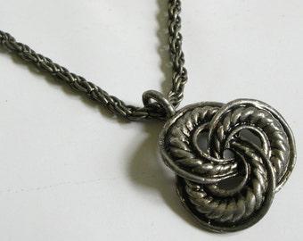 Dark Silver Gunmetal Knot Charm Necklace