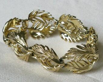 Gold Leaves Bracelet Signed LISNER