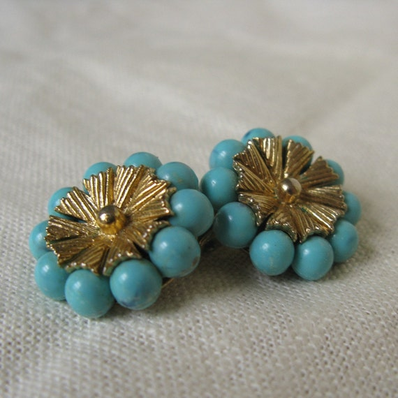 Vintage Turquoise Colored Coro Clip Earrings