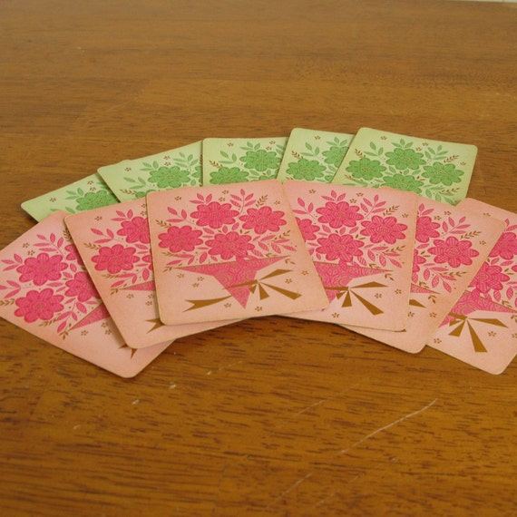 Vintage Pink and Green Bouquet Playing Cards