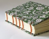 Tuscan Print Woodcut Floral on Green Small Journal