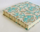Wedding Guest Book, Blue Paisley on Natural, Medium