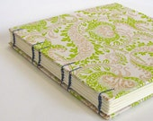 "Wedding Guest Book, 8"" Square, Paisley in Green on Natural, Made To Order"