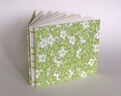 """Wedding Guest Book, Medium 6"""" x 7"""", Plum Blossoms on Green, Made To Order"""