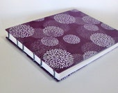 Violet Mums on Plum Large Wedding Guest Book, Ready To Ship