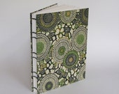 Large Sketchbook, Art Journal, Travel Journal, Diary, Garden Journal, Green Stenciled Mums, Ready to Ship