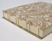 Wedding Guest Book, Gold Paisley on Natural, Coptic Stitched, Extra Large 9 x 10, Made To Order