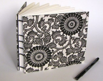 Wedding Guest Book, Black and White Mums, Medium