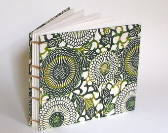 Medium Guest Book, Green Stenciled Chrysanthemums, Made To Order