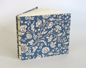 Wedding Guest Book, Tuscan Woodcut Floral in Blue, Medium Guest Book, Made To Order