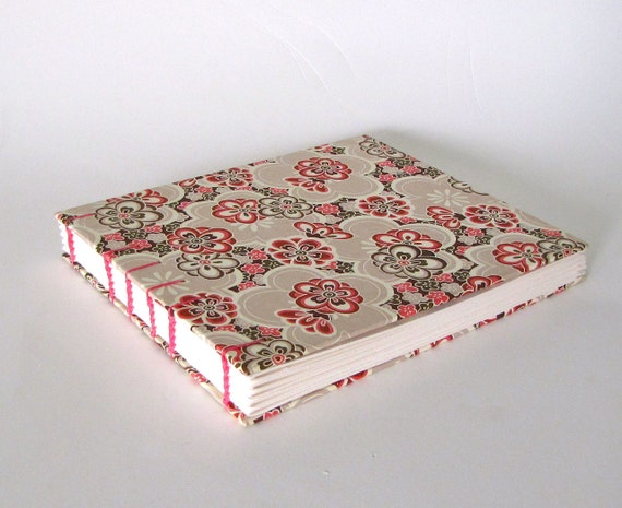 Handmade Wedding Guest Book, Retro Flowers in Pink, Ready to Ship