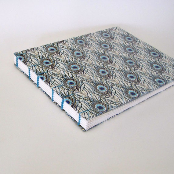 Wedding Guest Book, Photo Album, Italian Peacock, Turquoise Blue, Large Size, Coptic Stitch, Ready to Ship