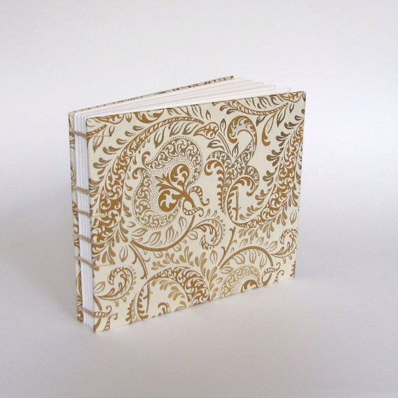 Medium Wedding Guest Book, Paisley in Gold on Natural, Made To Order