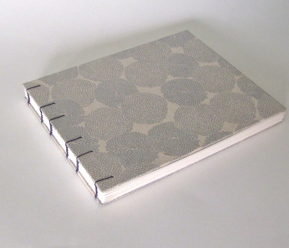 Silver Mums on Natural, Large Wedding Guest Book, Coptic Stitch, Made To Order