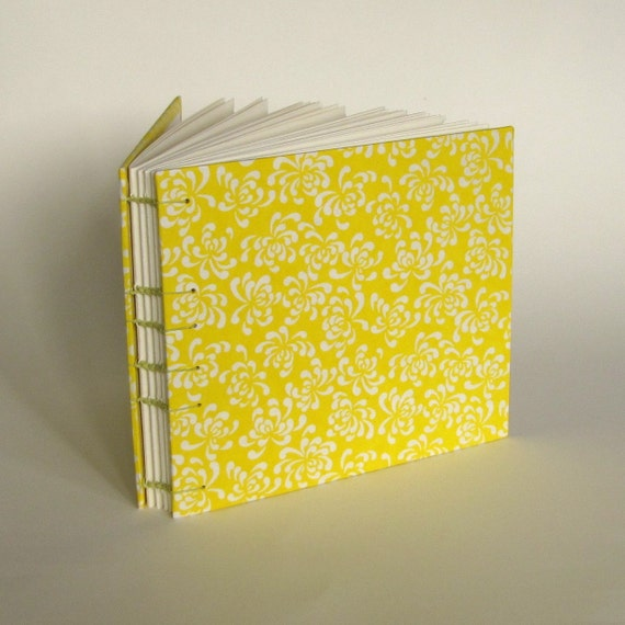 Wedding Guest Book, Yellow Mums, Medium Size, Made To Order