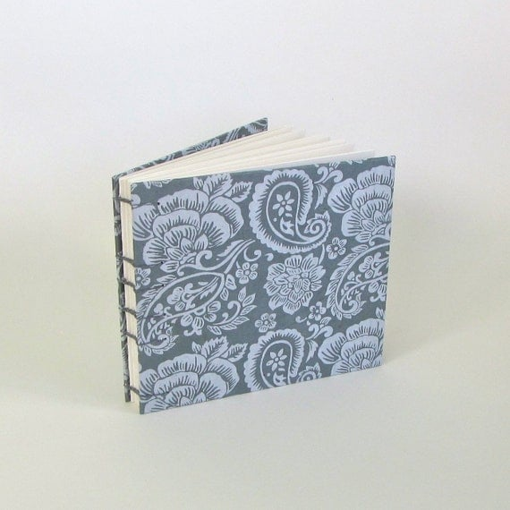 SIlver and Grey Handmade Medium Guest Book, Ready To Ship