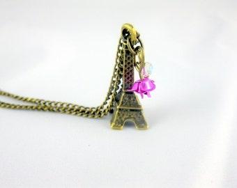 Je t'aime Paris Antique Bronze Eiffel Tower Necklace