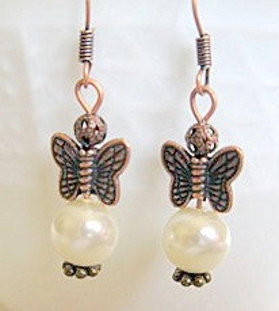 Bronze Butterfly Pearl Earrings