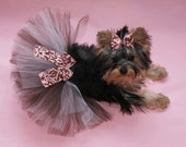 Elegant Brown and Pink Damask Dog Tutu and Coordinating Hair Bow