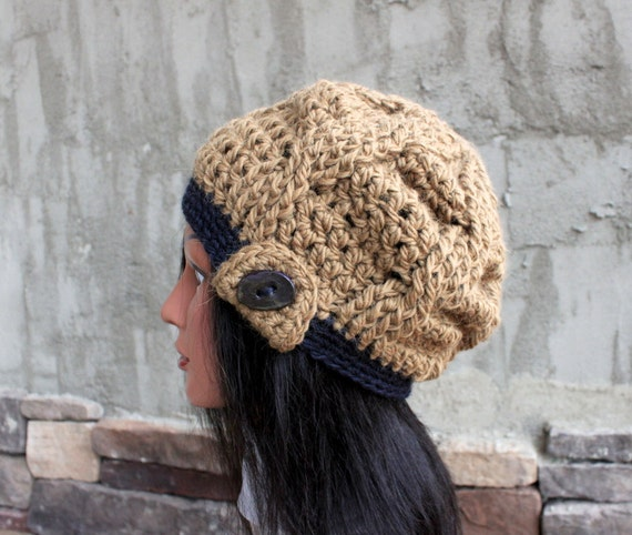 Button Tab Slouchy Beanie in Alpaca- With Exclusive Handmade Button - READY to SHIP