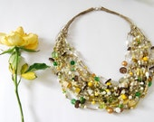 YELLOW ROSE linen necklace
