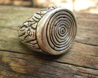 Rustic Tree Stump Ring in Sterling Silver size 7.5
