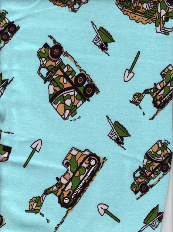 Cotton knit fabric with a boys truck design