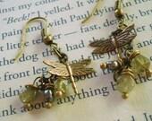 August Wings - Brass Earrings, Dragonfly Earrings, Peridot Earrings