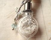 The Hiding Place -  Bottle Necklace, Vial Necklace, Bird Necklace, Silver Necklace