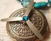 Underwater Flight - Brass Necklace, Nautical Necklace, Propeller Necklace, Locket Necklace - Steampunk Inspired