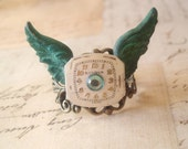 Time Flies - Adjustable Steampunk Ring, Wing Ring