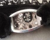 Hidden, Not Forgotten - Stretch Bracelet, Steampunk Bracelet, Lace Bracelet, Black Bracelet, Recycled Bracelet, Upcycled Bracelet