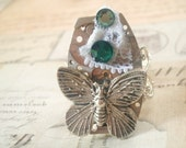 Fluttering Time - Steampunk Ring, Adjustable Ring, Silver Ring, Butterfly Ring