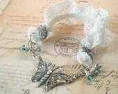 Lace Butterfly - Silver Bracelet, Lace Bracelet, Butterfly Bracelet, Blue Bracelet