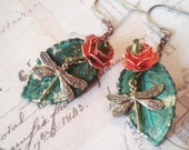Rose Dragonflies - Dragonfly Earrings, Patina Earrings, Leaf Earrings, Flower Earrings, Rose Earrings