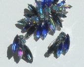 Signed CZECH Blue and Aurora Borealis RHINESTONES Vintage Brooch and Clip Earring SET