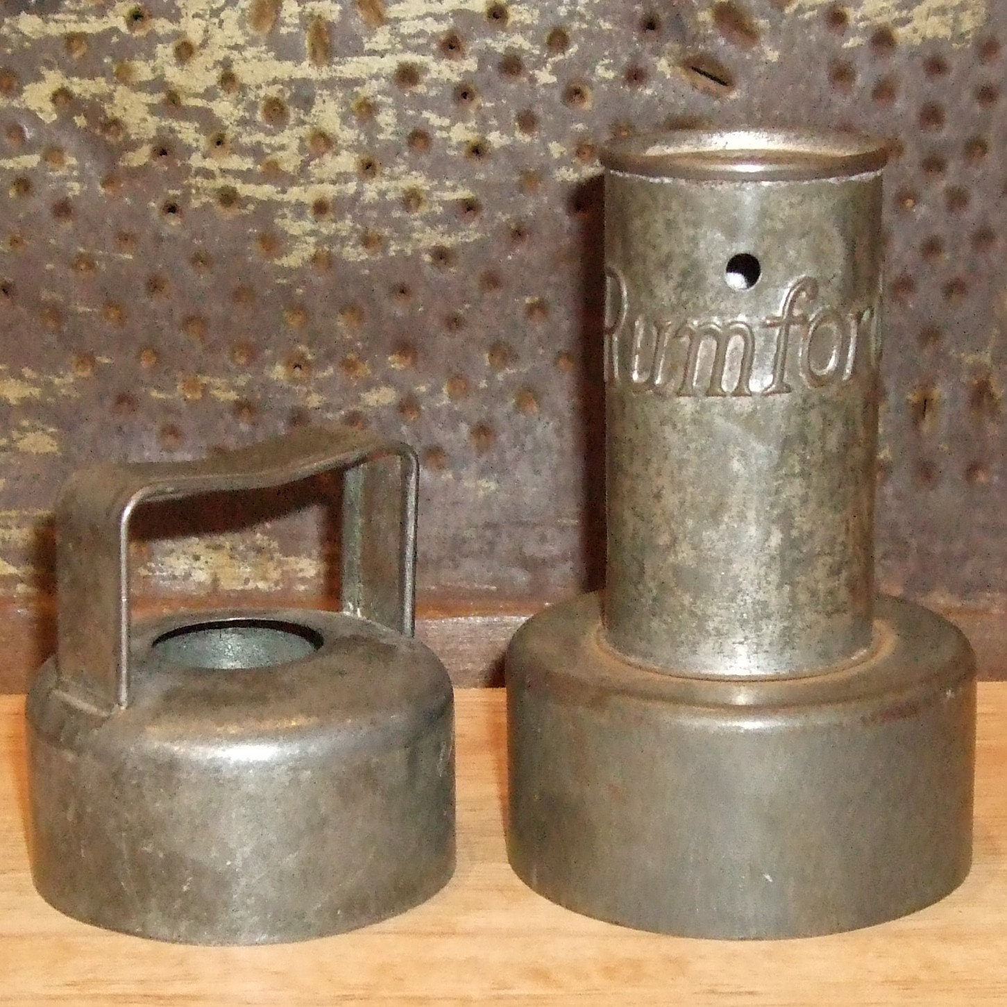 Antique Tin Biscuit Cutters One Advertising For Rumford Baking