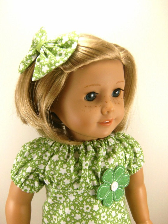 American Girl Doll Clothes, Sweet Spring Green and White Flowers Peasant Dress Matching Hair Bow Fits 18 Inch Dolls Girls Toys Retro OOAK
