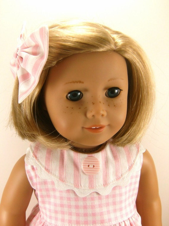 Made For American Girl Doll - Other 18 Inch Dolls - Pink and White Checks and Stripes Sleeveless  Dress and Matching Hair Bow